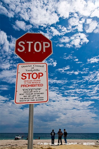 Stop sign, Normanville Beac